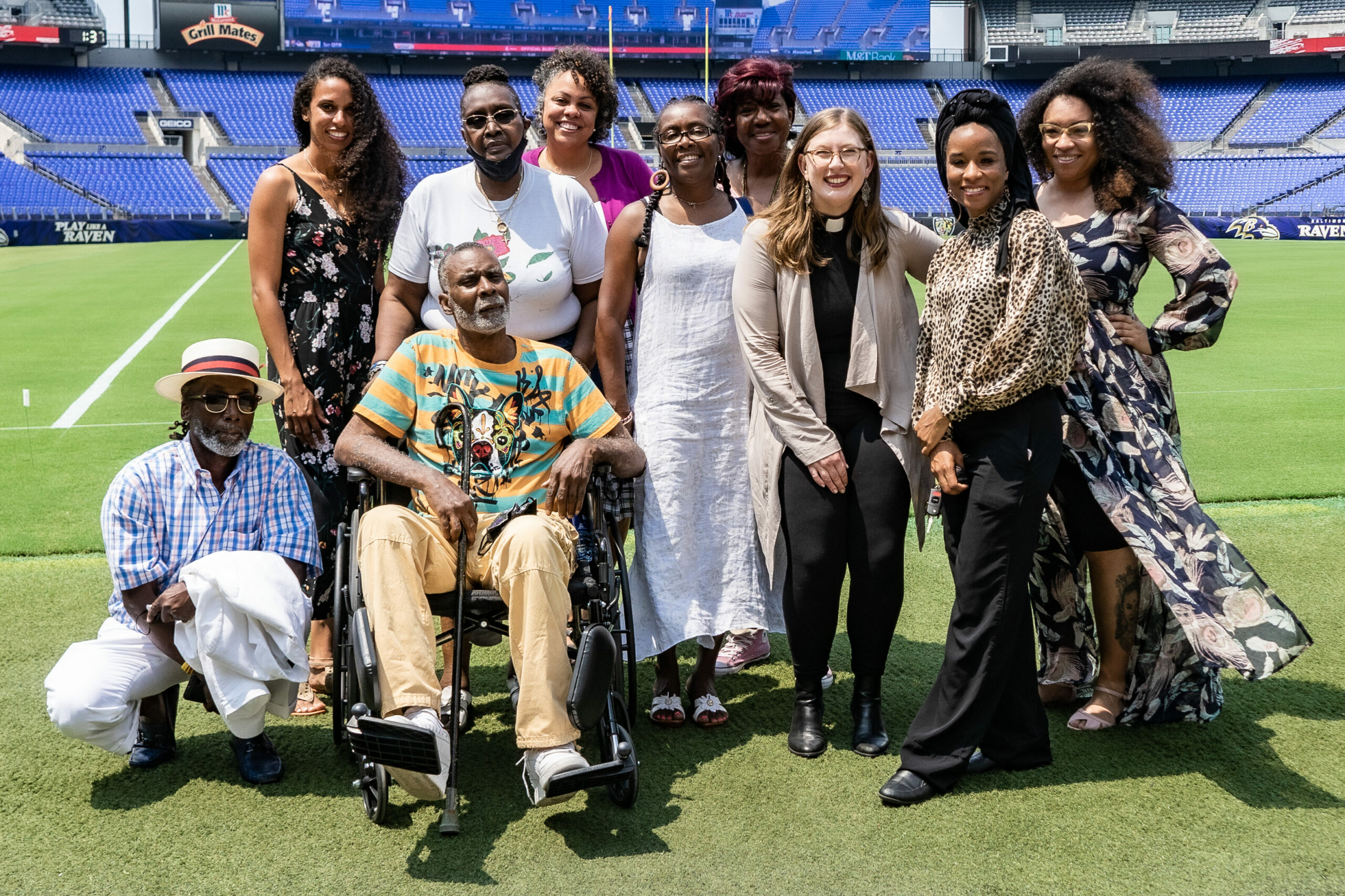 Awardees standing on M&T Bank Field